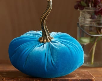 Scented Velvet Pumpkin, Rich Aqua Blue