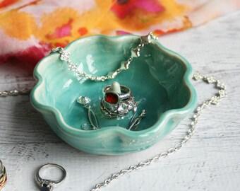 Ring Holder, Ring Dish in Aqua Sea Glass Glaze, Handmade Ceramic Jewelry Dish Ready to Ship Made in USA