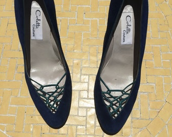 The Vintage Colette Navy Blue Suede Heels Pumps