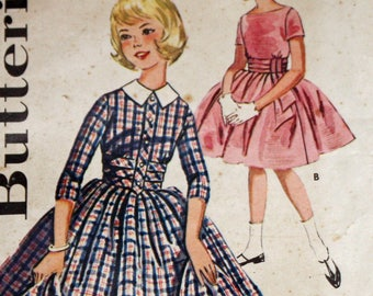Vintage 1960s Sewing Pattern, Butterick 9911, Girls' Full Skirted Dress, Girls' Size 10, Breast 28""