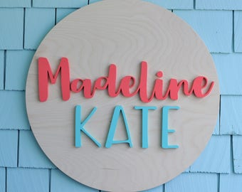 """24"""" Round Wood Sign Personalized Name, Custom Nursery Decor, Painted, Wall Decor, Baby Shower, Gift, Nursery Art, Bedroom Sign"""