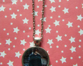 Jonathan Byers Stranger Things  silver round pendant necklace