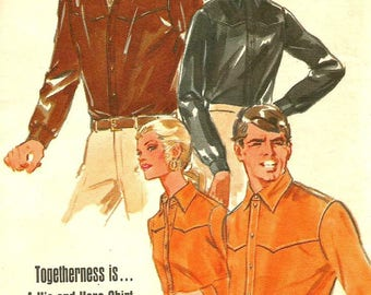 Vintage 60s Butterick 5266 UNCUT Mens Western Shirt Sewing Pattern Size Medium Chest 38-40