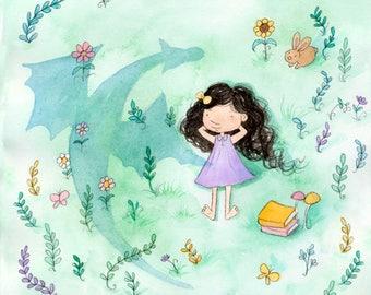 Dragon Shadow - Brunette Girl in Garden - Art Print