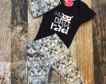 Infant Boy's Skull & Crossbones Pants, Bodysuit and Knot Hat Set - Can be Personalized - Coming Home Outfit - My Dad is Rad - Regent Skulls