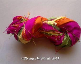 Tulips Flower Silk Sari Ribbon Yarn, Chunky Art Yarn For Crochet, Recycled Sari Silk Ribbon Yarn, Recycled Fair Trade Sari Ribbon Craft Yarn
