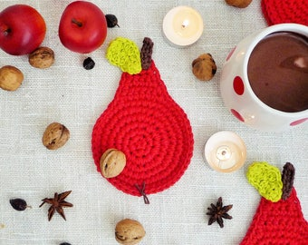Red Pear Coasters - Crochet Coasters - Fruit Coasters - Pear Rug Mug - Gift for Her - Gift for Mom - Rustic Table Decor - Set of 4