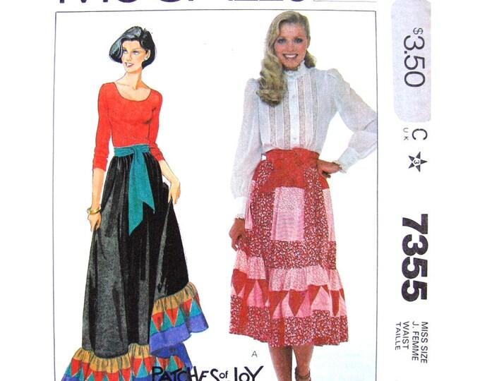 Patchwork Skirt Sewing Pattern McCalls 7355 Maxi or Midi Skirt Ruffle Sash Women Size 12
