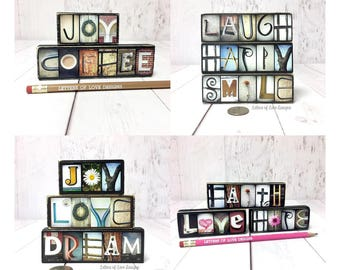 Gift Set for Her, Gift for Women, Best Friend Gift, Gift for Wife Girlfriend, Word Wall Art, Word Signs, Wood Wall Words, Tiny Wooden Words