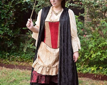 Witch Corset in House Colors Red and Gold, Lion, Brave, Harry, School of Witchcraft and Wizardry, Potter, Wizard, Corset, Cosplay