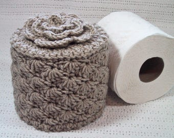 Toilet Paper Cozy w- Flower on Top - TP Cover - Cover Your Spare - Hand Crocheted - Tan Color - Acrylic Yarn - Bed & Breakfast Decor