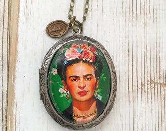 Frida Kahlo Locket Pendant Romantic Boho Artist Locket Frida Kahlo Necklace Gift for Her Frida Portrait Cameo
