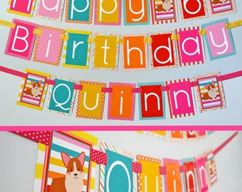 Corgi Birthday Party Banner Fully Assembled | Pink Yellow Teal Orange | Puppy Party Decorations | Corgi Dog Birthday | Corgi Party |
