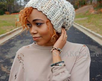 Slouchy Chunky Beanie Downtown Slouchy Cap, Satin Lined Beanie (or plain) - Snowcaps or Choose Your Color