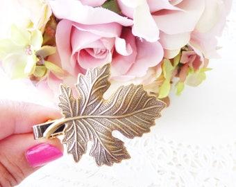Brass Maple Leaf Tie Bar - Maple Leaf Tie Bar - Mens Tie Clip - Wedding Accessory - Groomsmen Leaf Tie Bar - Woodland Wedding - Autumn Leaf