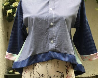 Upcycled Shirt Blouse Tunic Top Recycled Mix Size Medium Blues