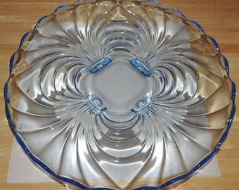 Cambridge Glass Caprice Moonlight Blue  14 inch tray with 4 feet