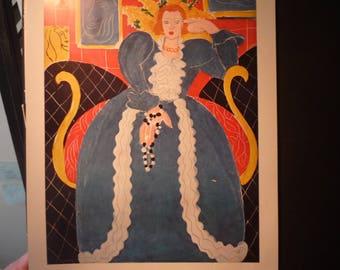 Matisse - Lady in Blue - Fine Art Book Plate - art ephemera gift for art lovers modern art 20th century print