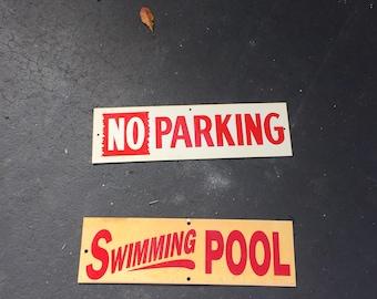 VINTAGE SIGNS, SWIMMING Pool, No Parking, Sold Separately, Signage, Photo Prop, Plastic Vintage Signs at A Vintage Revolution