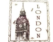 Bloc de bois pour le timbre Londres monté en caoutchouc, Big Ben, Westminster, Angleterre voyage