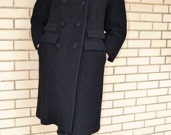 60s boucle wool coat, 1960s black coat medium, vintage outerwear mink fur collar, Siari Original double breasted coat