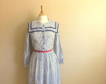 Vintage White And Navy Blue POLKA Dot Dress / GIOVANNOZZI / Double Collar Nautical Dress / Womens Size Medium Large