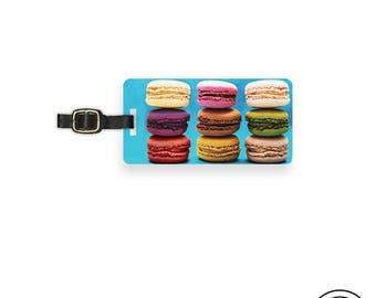 Luggage Tag Rainbow Macarons Macaroons  - Single Tag Custom Metal Tag