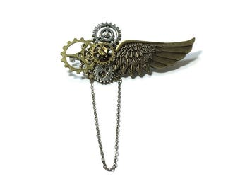 Steampunk Brooch ,  Winged Pin Gear Brooch  , Chained Steampunk Brooch ,  Cog Steampunk Pin , Victorian Steampunk Brooch