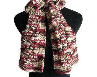 Pinkish Red,Brown and Cream Cable and Lace Knit Scarf, Vegan Knits, Womens Scarf, Fall Fashion, Cable Knit Scarf