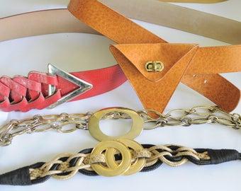 Pick a Belt Vintage Statement Belts Funky 90s 80s Block Ladies Womens