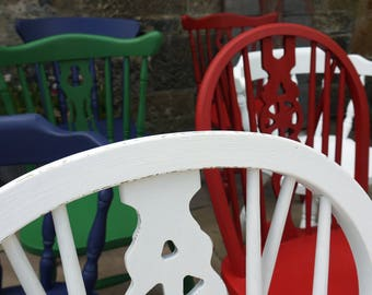 Shabby chic mismatch vintage dining chairs custom set painted to order