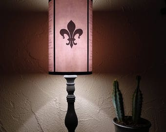 Evil Flowers Fleur de Lys light pink lampshade lamp shade - lis,lighting, table lamp, shabby chic decor,french,pink lamp shade, poem, gothic