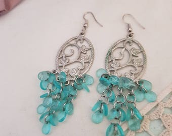 blue dangle earrings, elven jewellery, silver and blue, turquoise beads, long silver earrings