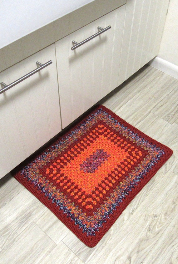 "Handmade crocheted boho reversible square rug 22"" by 26"" / one of the kind / heavy duty / thick / high quality cotton granny"