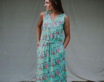 Womens Sleeveless VNeck Jersey Knit Cotton Maxi Dress with Pockets Handmade in the USA - Luana V Neck
