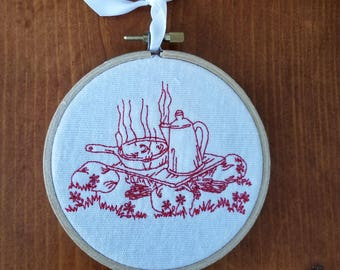 Campfire Embroidered Wall Hanging Home Decor Handmade Gift Camping Gift