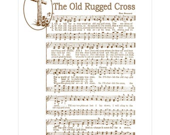 OLD RUGGED CROSS - Christian Home & Office Decor - Vintage Verses Sheet Music Wall Art - Antique Hymn Wall Art- Inspirational Wall Art- Sale