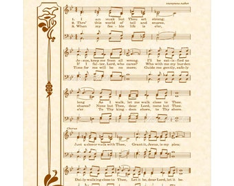 JUST A CLOSER Walk With THEE - Hymn Wall Art - Custom Christian Home Decor - Vintage Verses Sheet Music - Inspirational Wall Art- Brown Sale