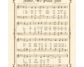 Father We Praise Thee - Christian Home & Office Decor Vintage Verses Sheet Music Wall Art Inspirational Wall Art Hymn Wall Art Inspirational