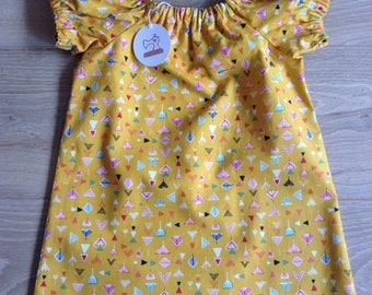 Simple Cotton Dress - girls age 1-2 - mustard geometric