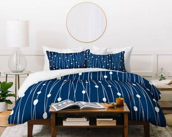 Navy Blue Geometric Duvet Cover // Twin, Queen, King Sizes // Home Decor // Modern Geometric // Entangled Navy Design // Bedding // Minimal