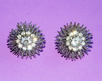 "Silver Wire Starburst and Rhinestone Clip On Earrings, 1 1/8"" Round Earrings with a Large Center Rhinestone in a Circle of Rhinestone"