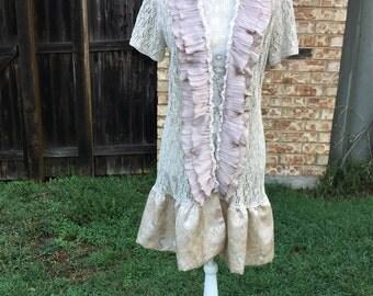 Altered Women's Linen/Cotton/Nylon Top,Tan Jacket Embellished, Mori-Girl Style, Small, Satin Bottom, Shabby Chic,Romantic, Tan Crochet, BoHo