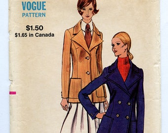 Vintage Vogue 8157 Women's Pea Coat Fall Winter Jacket Blazer UNCUT Sewing Pattern - Size 14 Medium Bust 36 - Single or Double Breasted