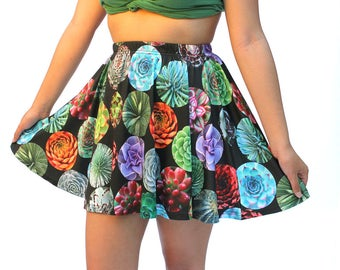 Succulents Skater Skirt - printed mini skirt - photographic graphic succulents - black or white background - USA XS-3XL