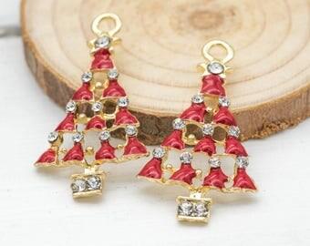 Christmas Tree Pendant, Red and Gold, 5pcs,   Holiday  Charms, Red Christmas  Tree, Xmas Charms -C949