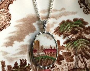 Broken china jewelry, Recycled china pendant necklace Antique English castle transferware broken china jewelry