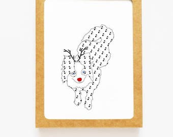 Holiday Pomeranian Reindeer Card for Christmas Greetings or Happy New Year Cards
