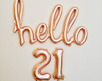 Rose Gold Hello 21, Hello 21, 21st Birthday, Rose Gold Birthday Balloons, Rose Gold Balloons, Rose Gold 21st Birthday, Rose Gold 21, yay 21