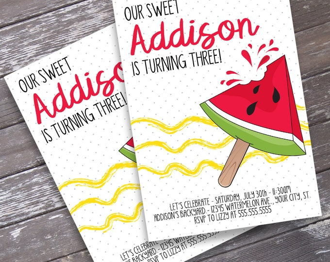 Melon Party Invitation - One in a Melon Birthday, BBQ party, Pool Party, Summer Party | Editable Text - Instant Download PDF Printable